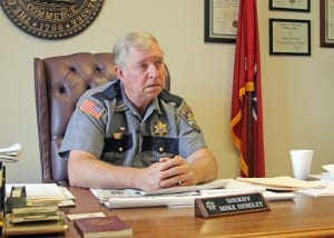 Sheriff Mike Hensley called a press conference on Thursday, April 21, to address a decision by the town of Unicoi Board of Mayor and Aldermen to cut funds paid to his department for law enforcement services. (Erwin Record Staff Photo by Keeli Parkey)