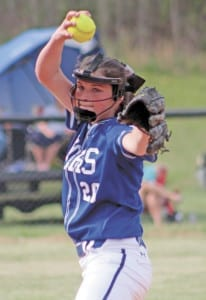 Lady Devil Halie Padgett struck out six batters in her team's 8-1 win over Sullivan East on April 19 in Bluff City. The Lady Devils ended last week playing in the Tiny Day/Red Edmonds Memorial Tournament in Greeneville. (Erwin Record Staff Photo by Curtis Carden)
