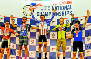 Nolan Tankersley, center, came away with two national championships during the annual USA Cycling Championships held over the weekend in North Carolina. Tankersley is a cyclist for ETSU and the Pro Lupus Racing Team. (Contributed photo)