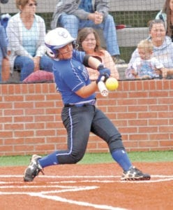 Abby Hensley makes contact during an at-bat in the Lady Devils' 13-3 loss to Christian Acadmey of Knoxville in the substate round. (Erwin Record Staff Photo by Keeli Parkey)