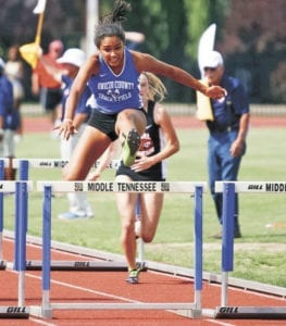 Stephanie Wisse represented Unicoi County High School in the 100-meter hurdles at the TSSAA Spring Fling last week. Wisse finished fourth in the race and earned all-state honors. (Photo contributed by Bryce Phillips)