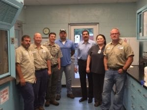 Pictured from left are Erwin Utilities employees Jose Diaz, Randy Arrowood, Matthew Rice, Jason Byrd, Lee Brown, Sharon Kidd and Clay Hepburn. (Contributed photo)