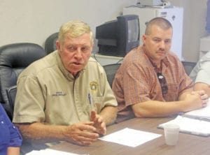 Sheriff Mike Hensley, left, addresses the Unicoi County Budget and Finance Committee on July 20. (Erwin Record Staff Photo by Brad Hicks)