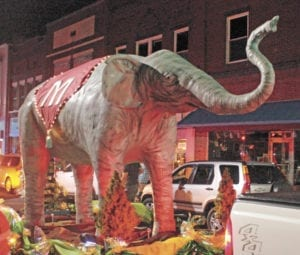 The Erwin Elephant Revival concluded Saturday with the Elephant Glow Parade. A large statue of Mary was unveiled during the parade. The Revival raised more than $7,000 for The Elephant Sanctuary in Tennessee. (Erwin Record Staff Photo by Brad Hicks)