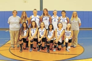 The Jr. Lady Devil junior varsity volleyball team includes, pictured from left, back row, assistant coach Elana Pate, Rachel Hatcher, Olivia Bailey, Emalee Bernard, Tiffany Boyd, Dora Benton and head coach Sara Hubbard; front row, Rocio Reynoso, Natilee Clouse, Bella Davis, Raquel Torres, Katie Hensley and Sydney Compton. (Erwin Record Staff Photo by Keeli Parkey)