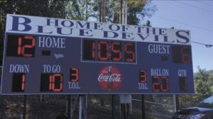 The scoreboard at Gentry Stadium, which did not work during the Blue Devils' first two homes games of the season, has been repaired, according to school officials. The scoreboard should be operational for the Sept. 30 football game. The scoreboard was working on Monday, Sept. 26, when tested by school officials. (Contributed photo)