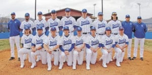 The 2017 Unicoi County High School Blue Devil varsity baseball team opened the new season with two wins last week. The team includes, pictured from left, back row, head coach Chad Gillis, Dylan Putman, Cameron Spires, Shaddon Peavyhouse, Clay Simpson, Troy Podvin, Matthew Hatcher, Brett Strother, assistant coach Brad Tapp and assistant coach Travis Griffith; front row, Hunter Higgins, Justin Laughren, Owen Nicholson, Raben Reed, Caleb Crain, Caleb Wilson, Jay Johnson and Nick Fender. (Erwin Record Staff Photo by Keeli Parkey)