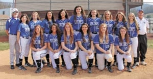 Inclement weather delayed the start of the 2017 season for the Unicoi County High School Lady Devil varsity softball team. The ladies finally opened the season on Monday, March 20, and action will continue throughout this week. The team includes, pictured from left, back row, assistant coach Pat Goddard, Jamie Edwards, Grace Ann Clark, Tanya Chavez, Savannah Delffs, Halie Padgett, Allee Griffith, Rylee Stiltner, Alana Peel, Greta Raby and head coach Grady Lingerfelt; front row, Savannah Lafever, Keelie Hall, Ashley Edwards, Neelee Griffith, Hannah Bowen and Faith Bailey; not pictured, Halie Hawkins. (Erwin Record Staff Photo by Keeli Parkey)
