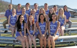 The 2017 Unicoi County High School Blue Devil and Lady Devil track teams opened the new season with a meet at Science Hill on Monday, March 20. The team members are, pictured from left, back row, assistant coach Thad Higgins, John Campbell, Nicholas Lynch, Andrew Bowen, Cameron Higgins, Andrew Edwards and head coach Megan Davis; middle row, Alex Carter, Natalia Mendoza, Megan Todd, Jillian Taylor, Kaitlyn Tilson and Yvette Galloway; front row, Bernice Luquin, Cheyenne Wilson, Stephanie Wisse and Daniela Martinez. (Erwin Record Staff Photo by Keeli Parkey)