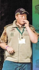 A.J. Silvers is pictured demonstrating his turkey calling techniques during a recent competition in Nashville. (Contributed photo)
