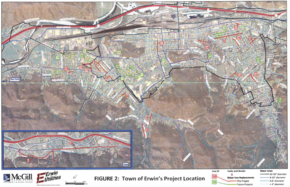 This map shows waterlines which will be replaced through a low-interest loan acquired by Erwin Utilities. (Map contributed by Erwin Utilities)
