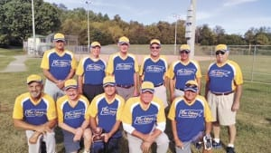 Members of the Tri-Cities Senior Softball League pose for a photo at the end of the 2015 season. (Contributed photo)