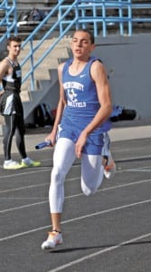 Donnie Metcalf runs his leg of the 4x400-meter race at Sullivan South. (Erwin Record Staff Photo by Keeli Parkey)